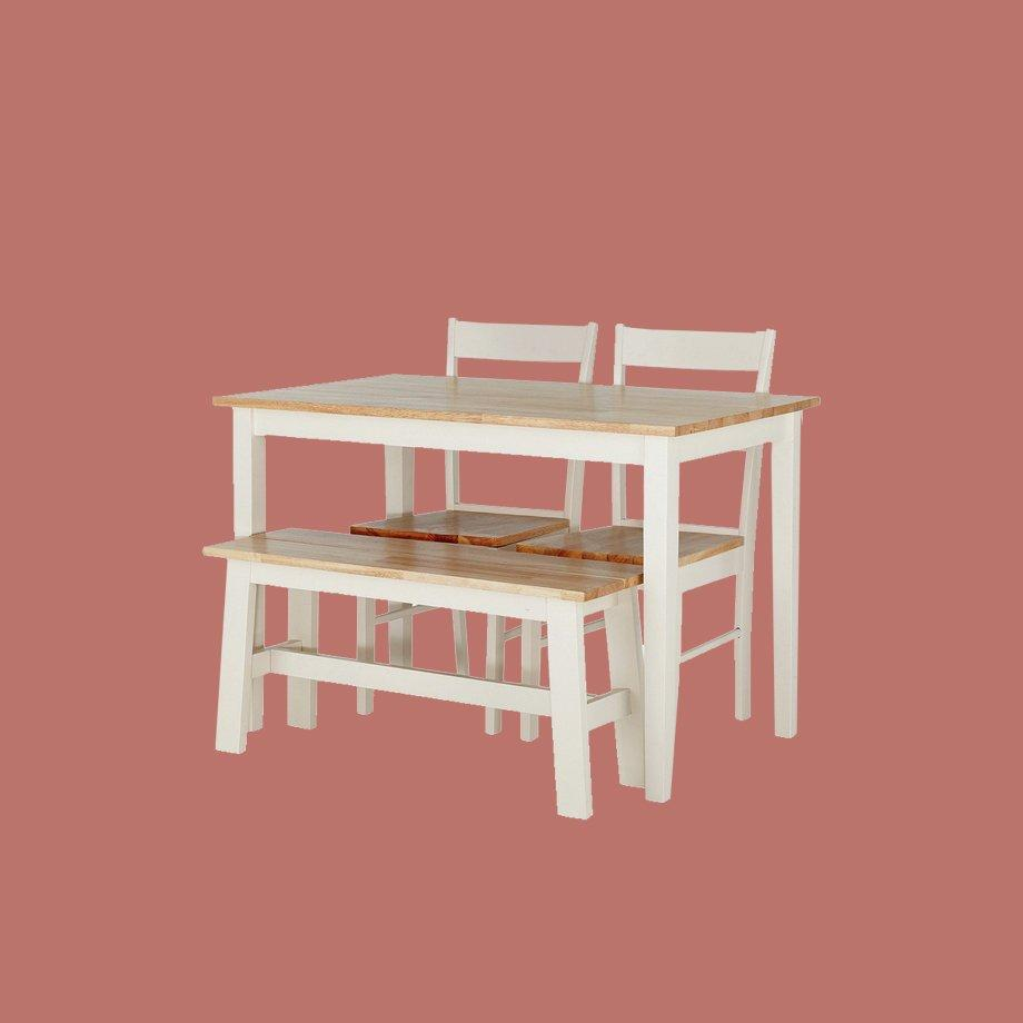 Habitat Chicago Solid Wood Table, 2 Chairs & Bench.
