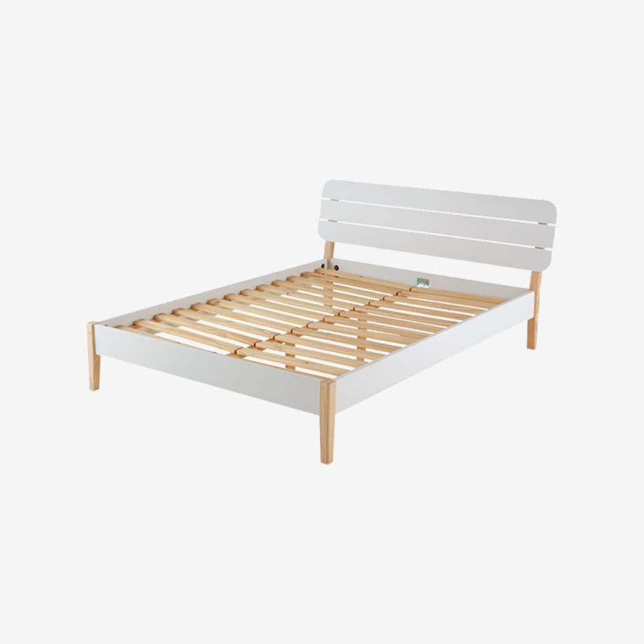 Double white bed frame.