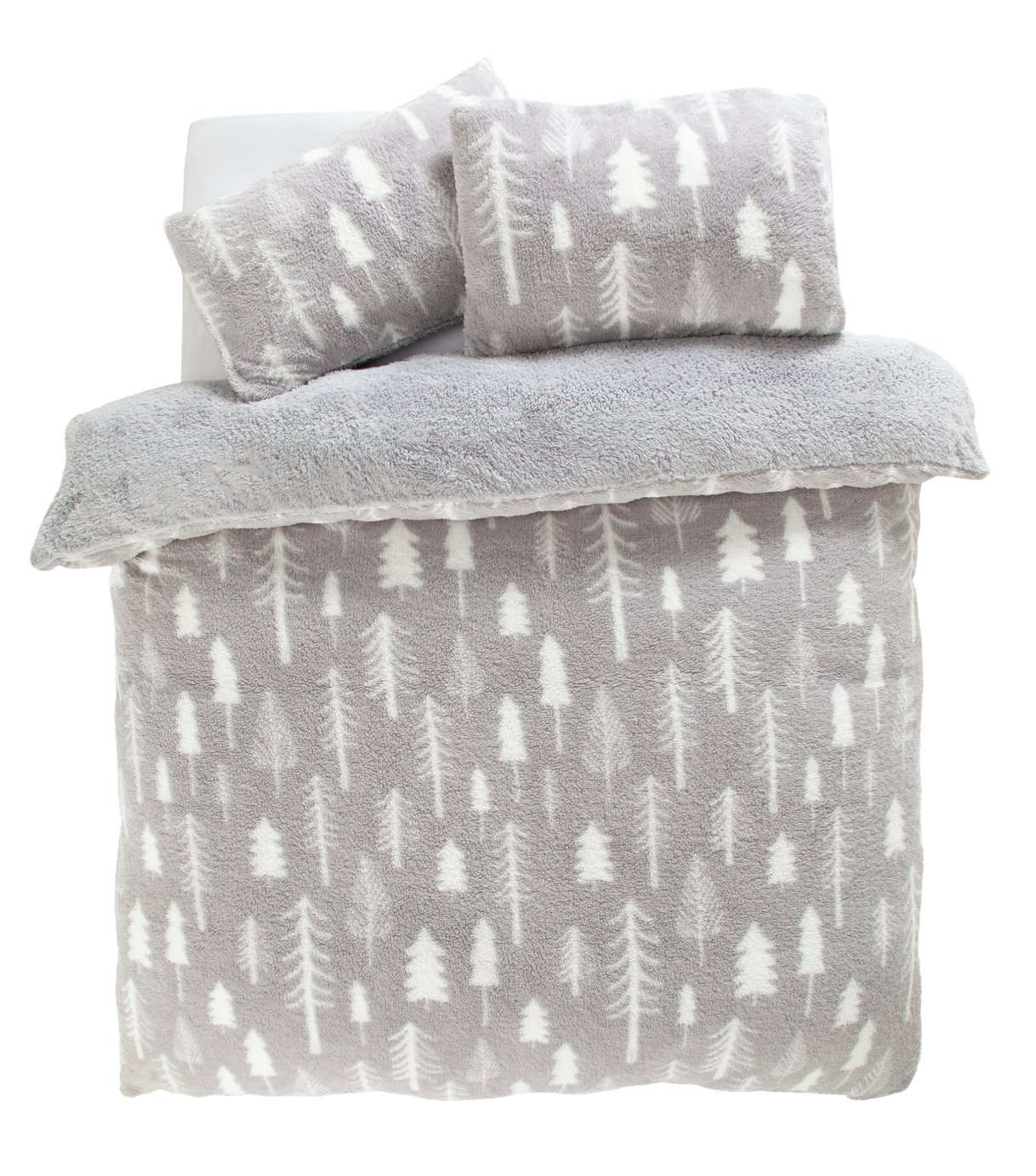 Argos Home Teddy Fleece Trees Bedding Set - Double