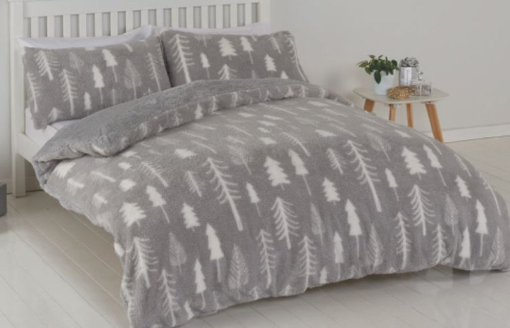 Argos Home Teddy Fleece Trees Bedding Set - Kingsize