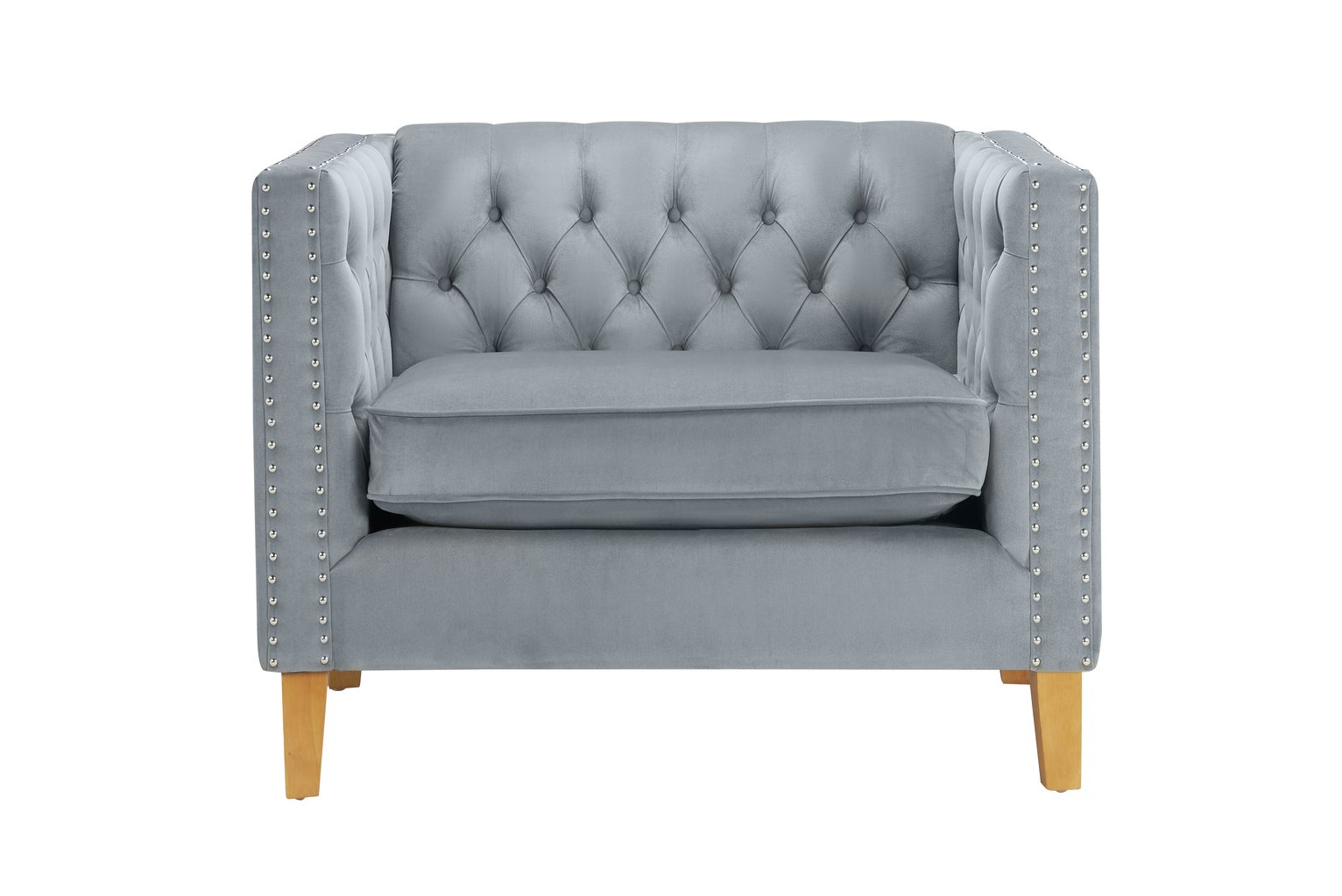 Birlea Florence Velvet Cuddle Chair - Grey
