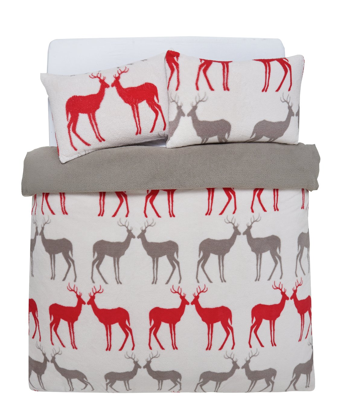 Argos Home Teddy Fleece Reindeer Bedding Set - Kingsize