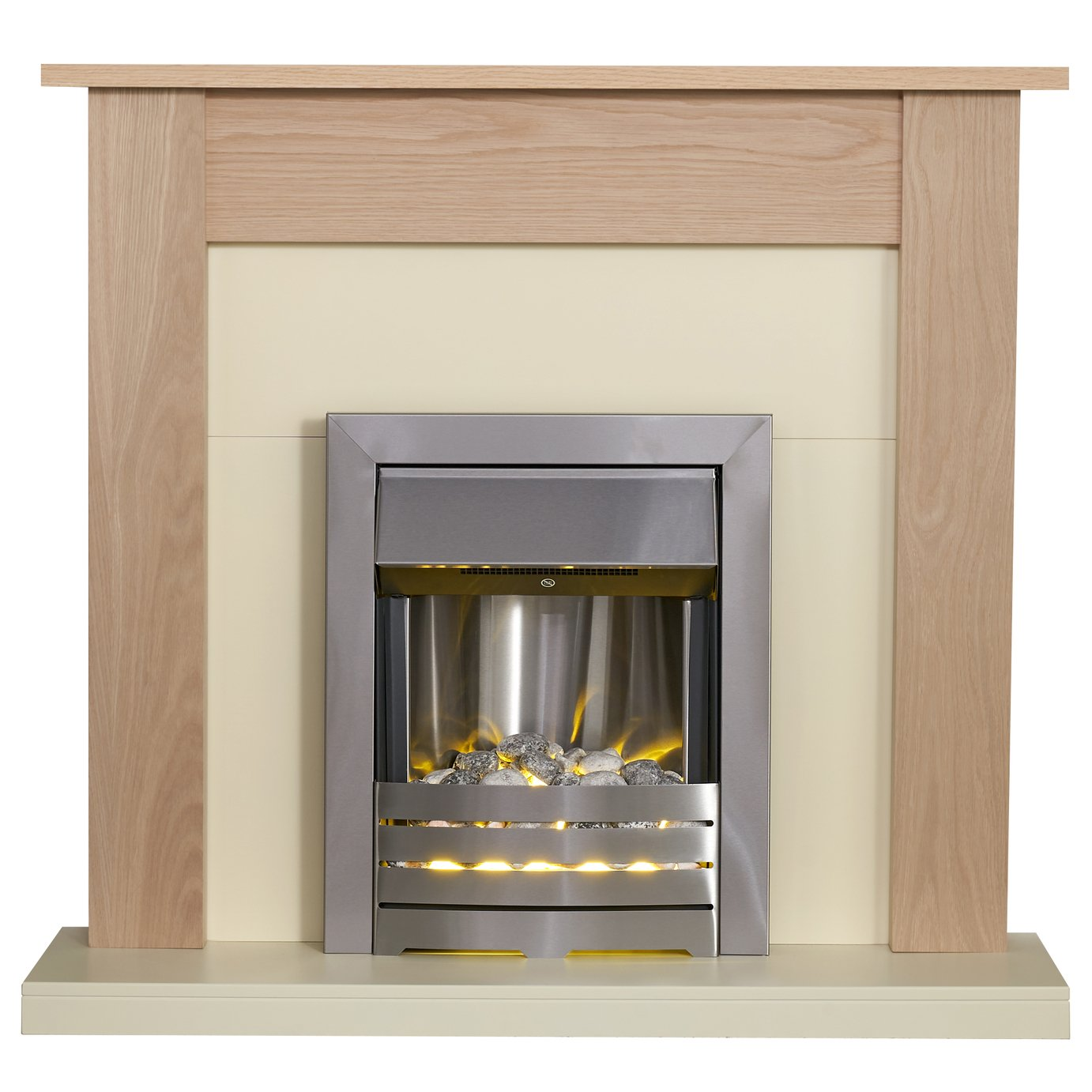 Southwold Helios Electric Fire Suite - Oak and Brushed Steel