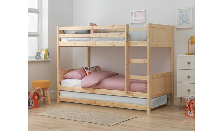 Argos Home Detachable Bunk Bed Frame with Trundle - Pine