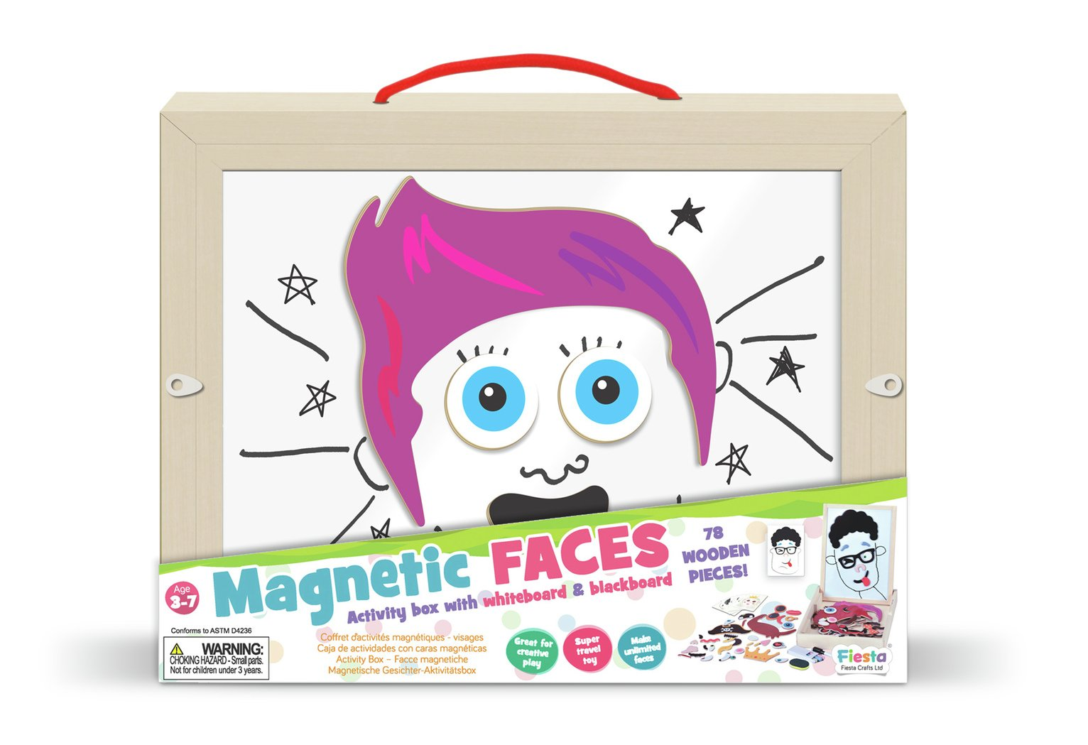 Fiesta Crafts Magnetic Faces Activity Carry Box