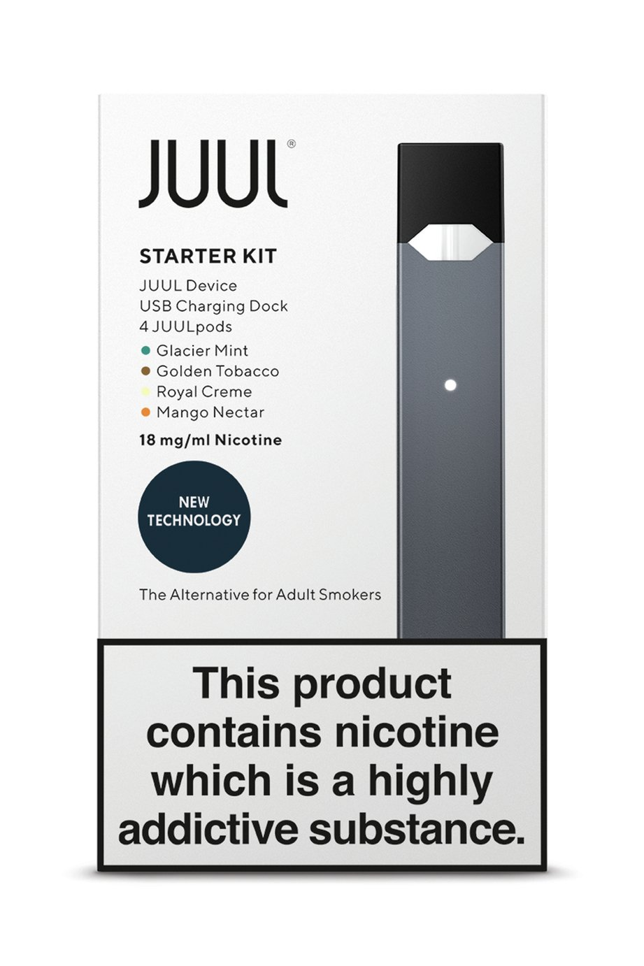 JUUL Starter Kit Including 4 PODS 18mg