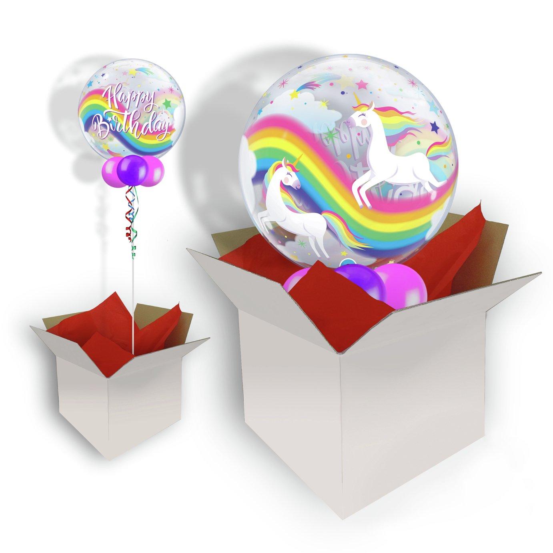 Pioneer Birthday Rainbow Unicorns Bubble Balloon In A Box