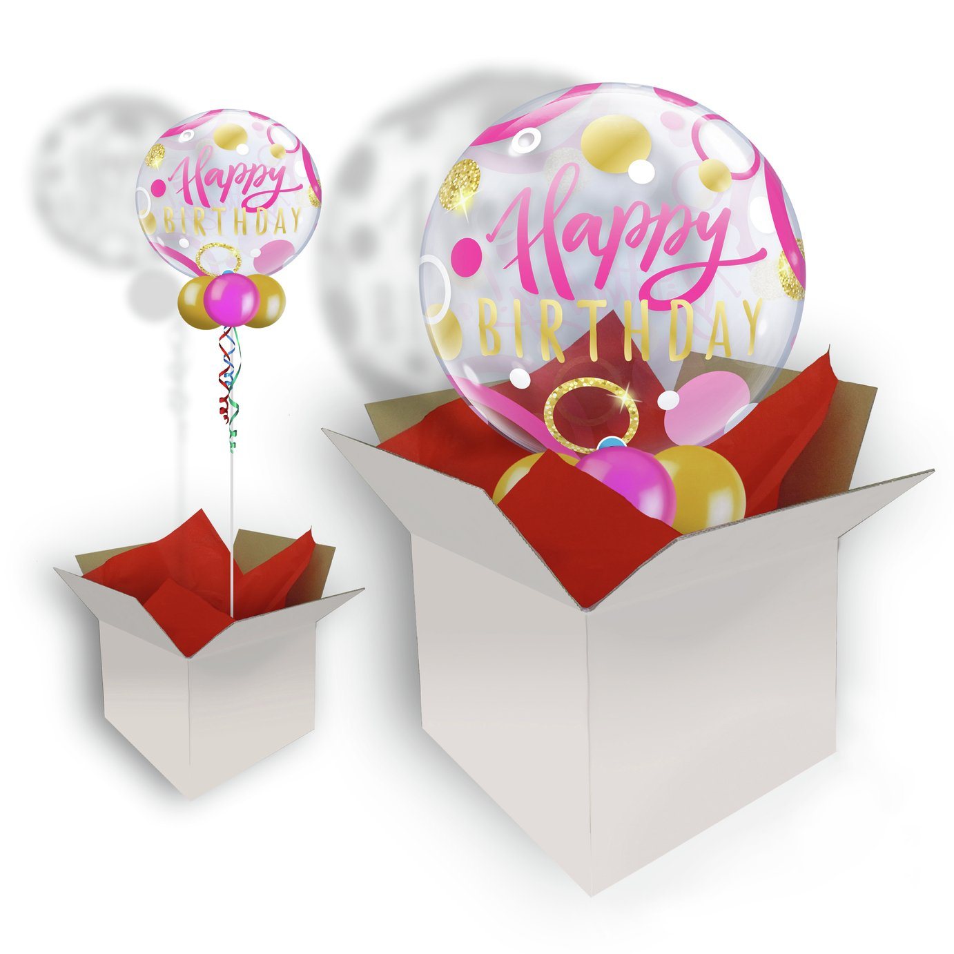 Pioneer Birthday Pink & Gold Dots Bubble Balloon In A Box