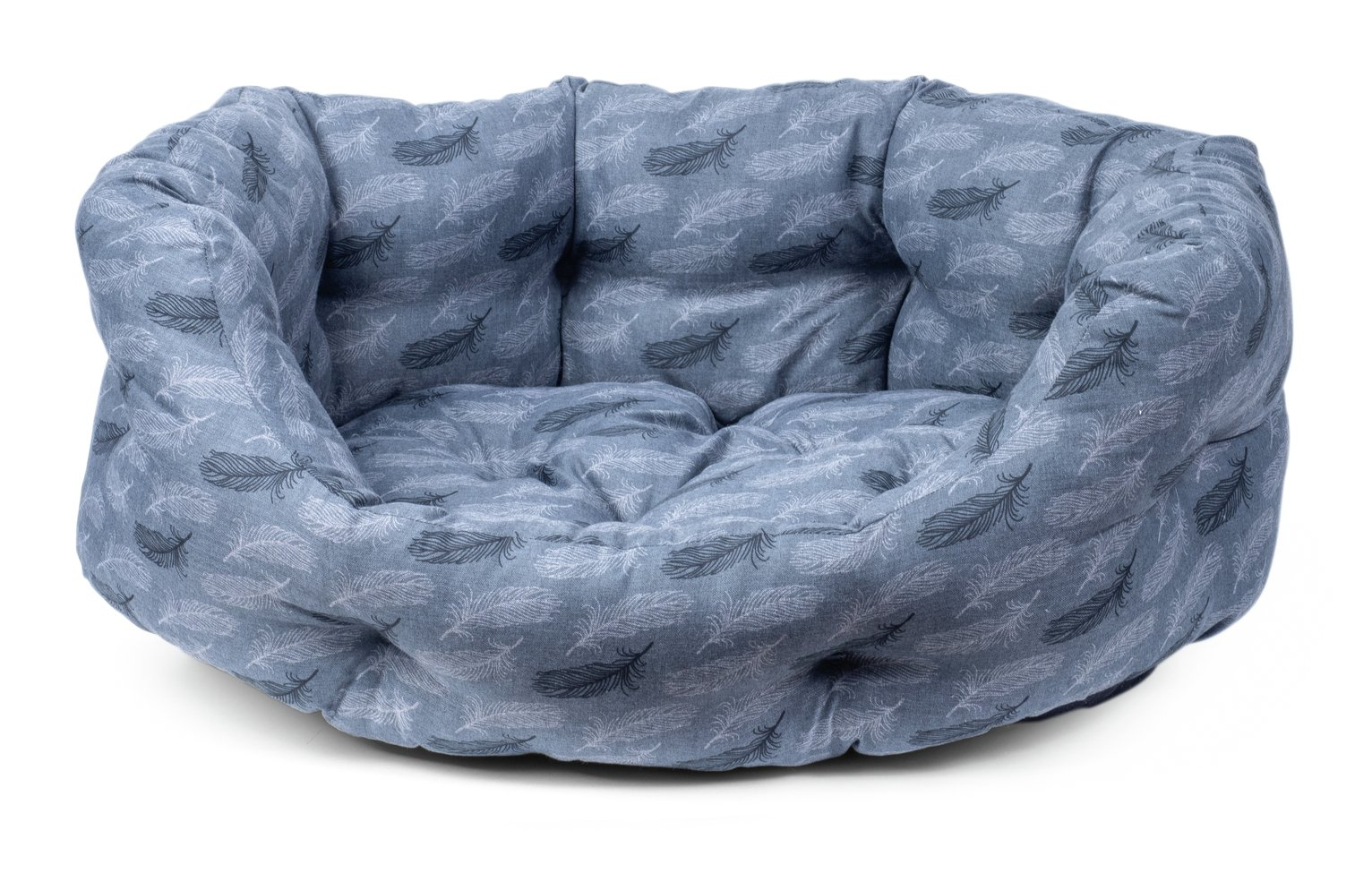 Petface Grey Feather Oval Dog Bed - Medium
