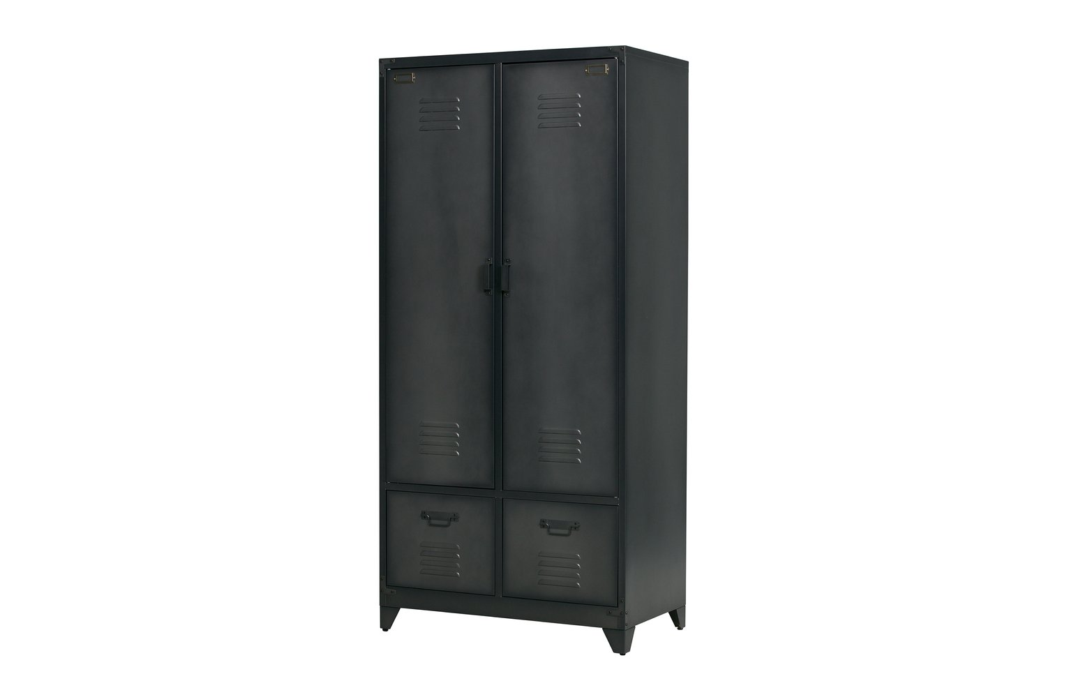Woood Cas Black 2 Door 2 Drawer Metal Wardrobe