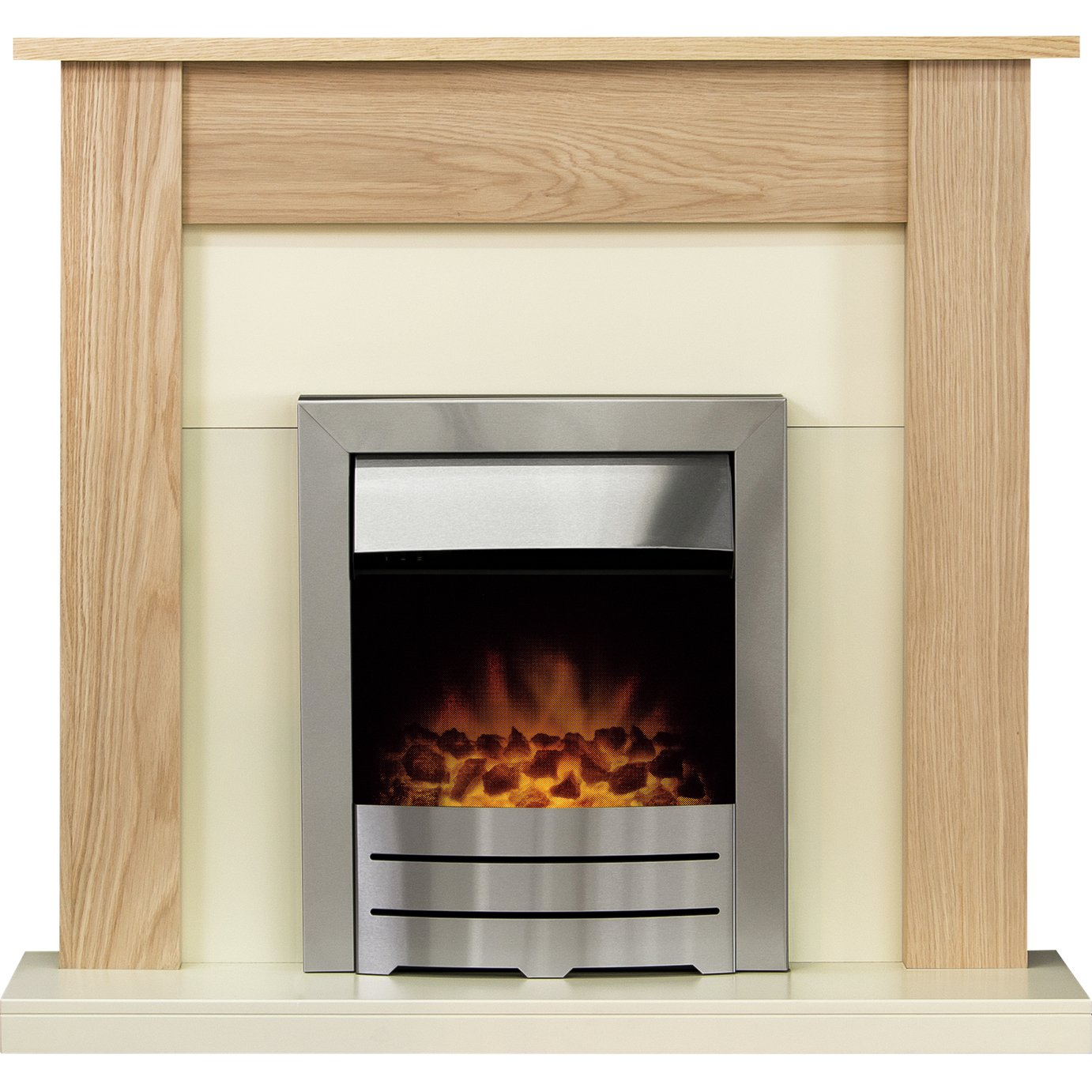Southwold Colorado Electric Fire Suite - Oak and Brush Steel