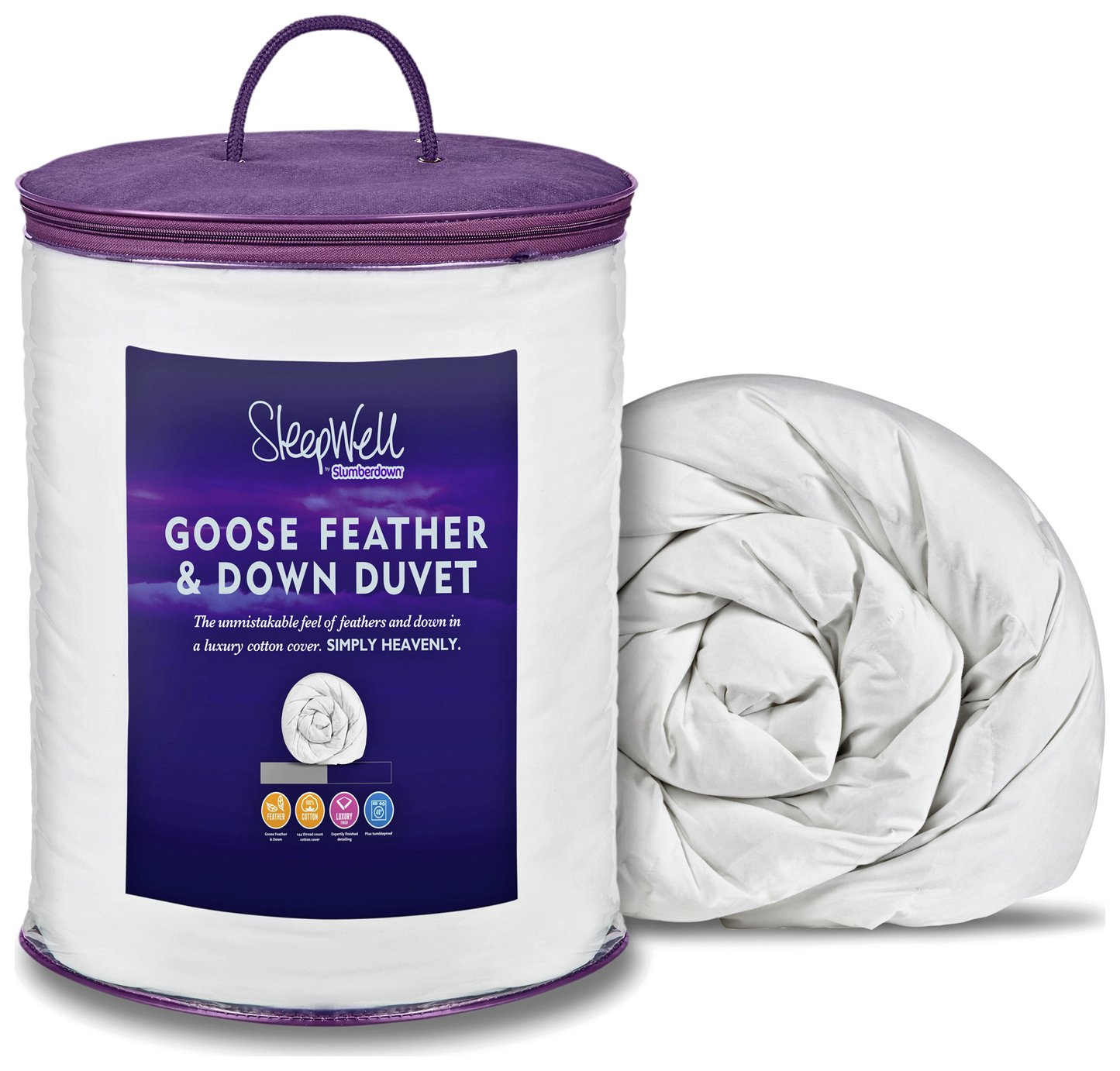 slumberdown  105 tog goose feather and down  duvet  double