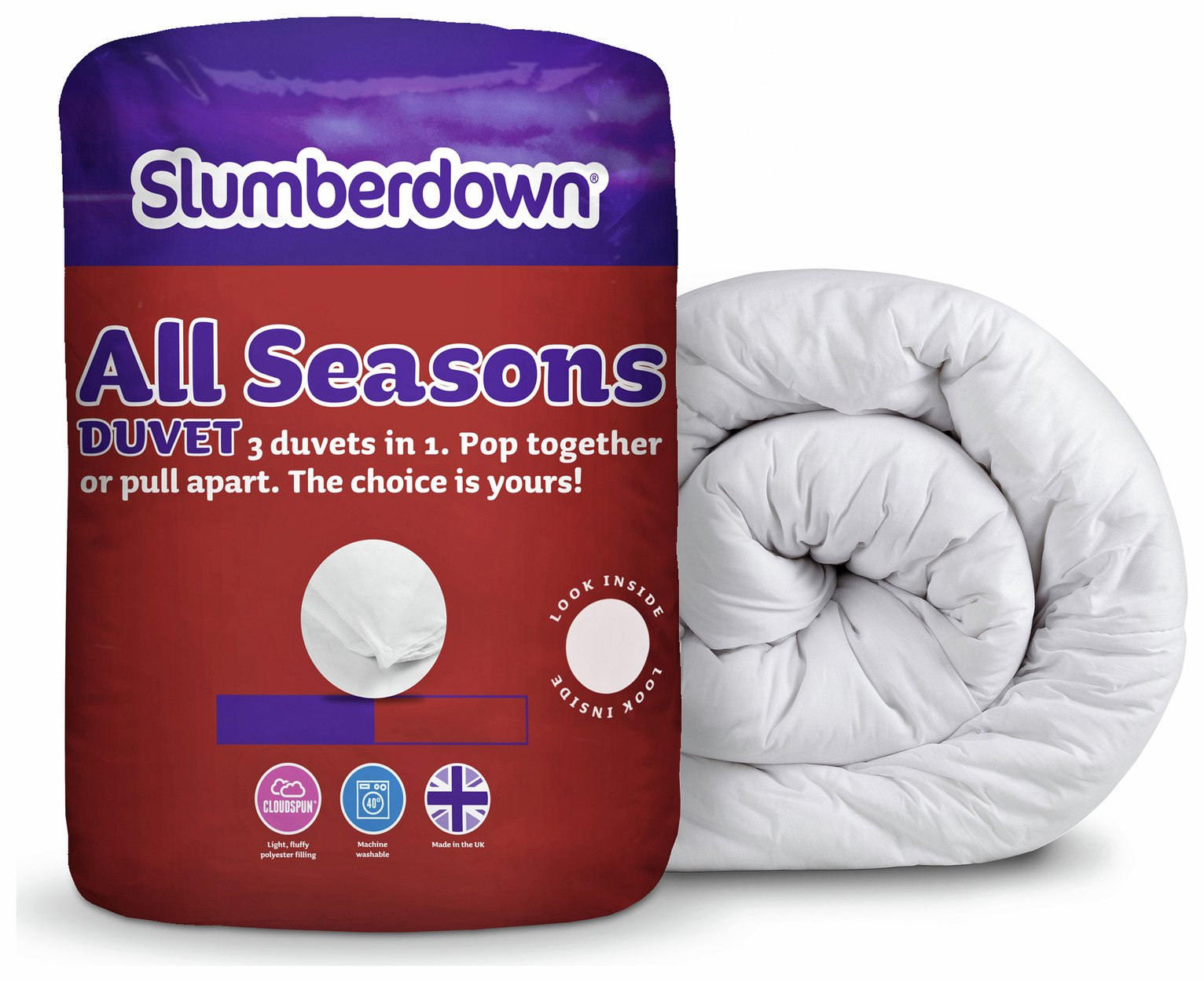 slumberdown  all seasons 9 + 45 tog 3in1  duvet  single