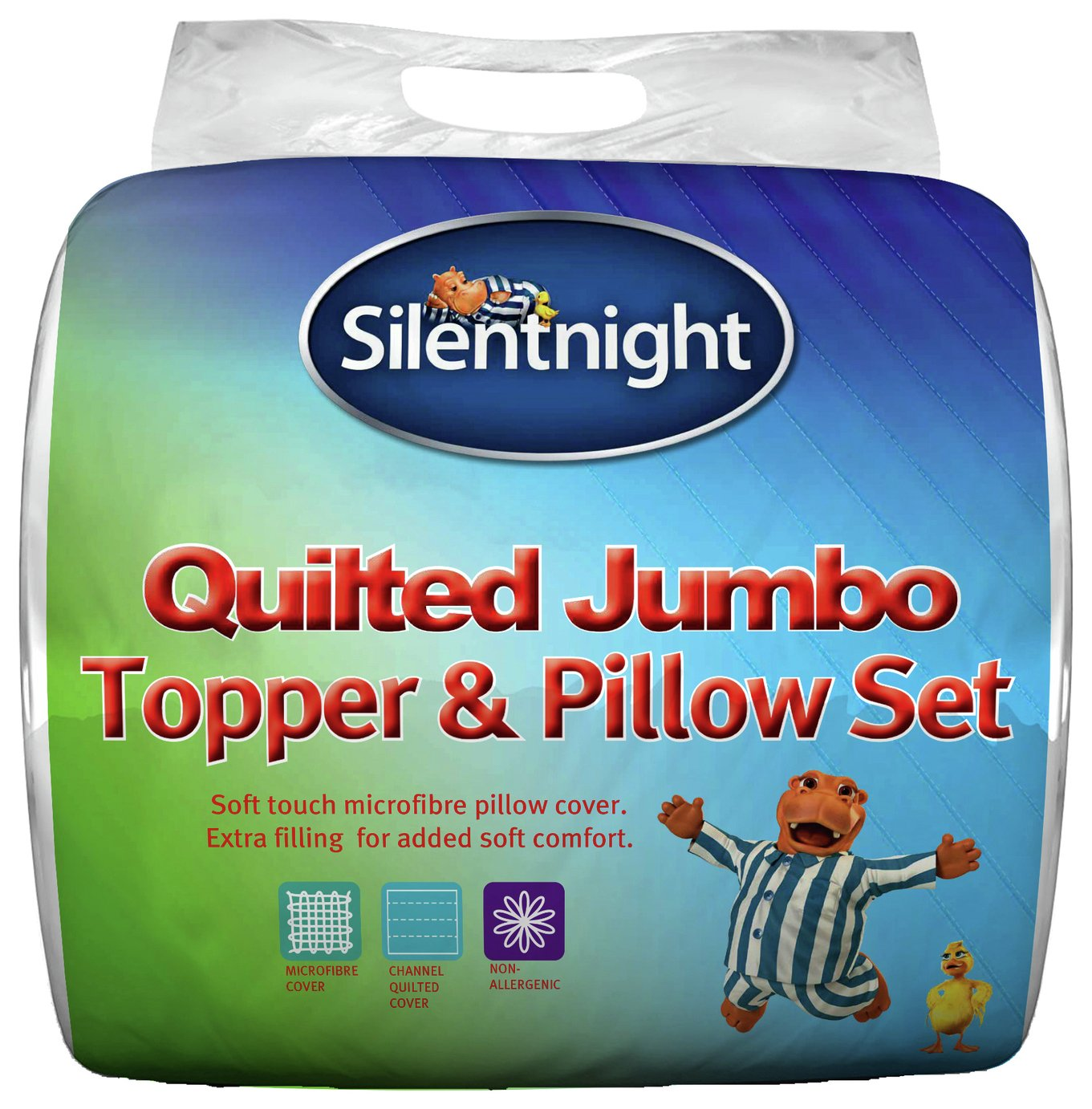 silentnight  quilted  mattress topper and pillows set  double