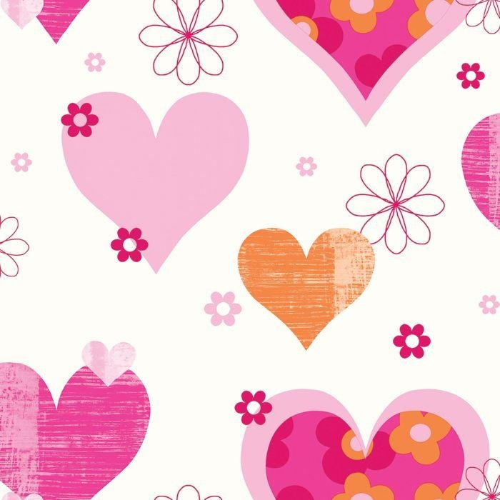 happy hearts wallpaper  pink and orange.