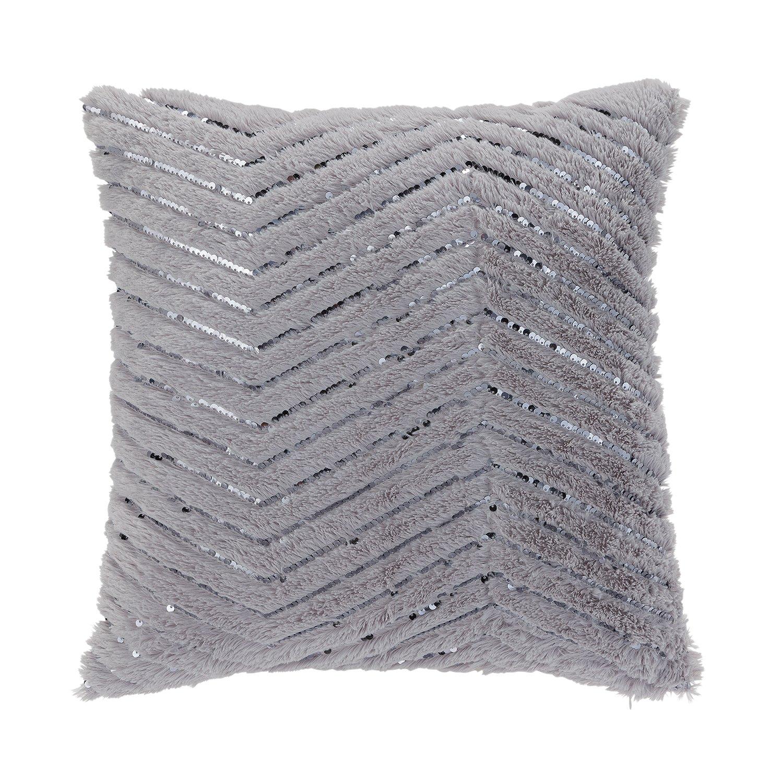 Argos Home Fur ZigZag Metallic Cushion - Grey & Pink