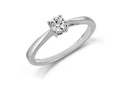 Cut out image of a 18ct white gold 0.25ct diamond solitaire ring.