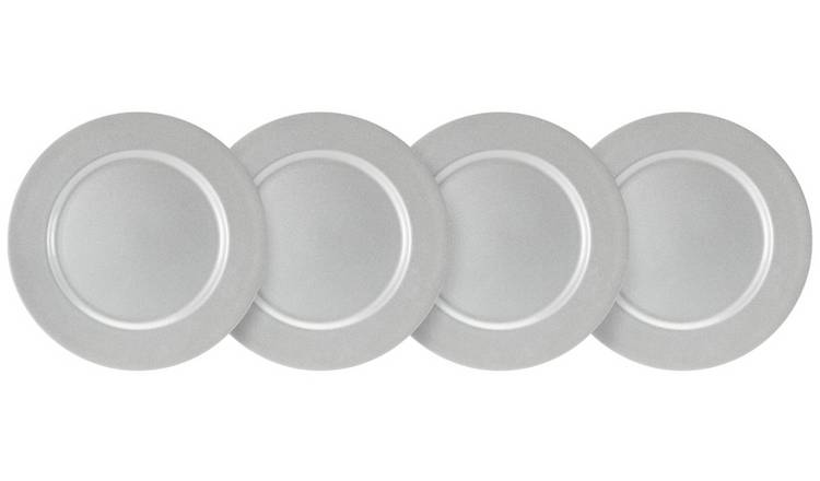 Creative Tops 4 Pack Berry Christmas Charger Plates - Silver
