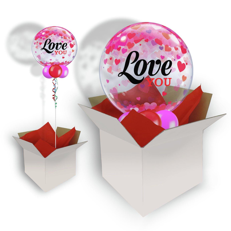 Pioneer Love You Confetti Hearts Bubble Balloon In A Box