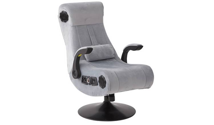 X-Rocker Deluxe Chenille Pedestal Gaming Chair - Silver