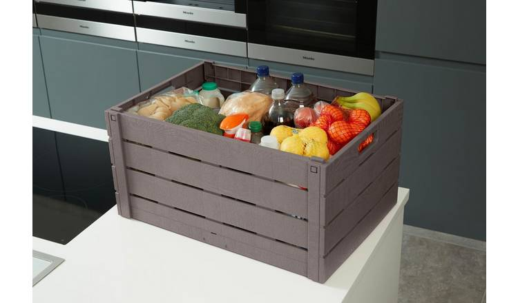 Strata 60 Litre Wood Effect Folding Crate - Taupe