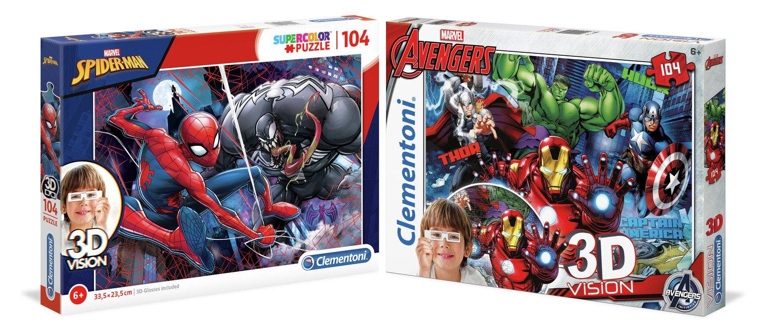Marvel Avengers 3D Effect 2 x 104 Piece Jigsaw Puzzle