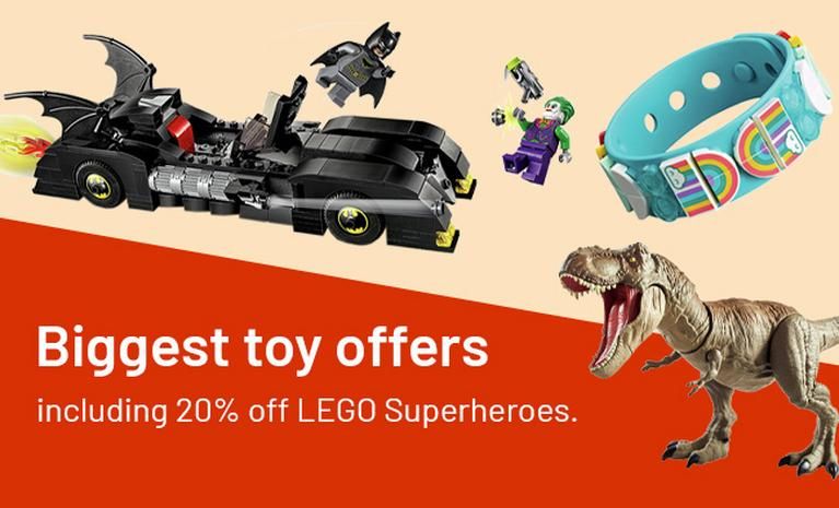Biggest toy offers including 20% off LEGO Superheroes.