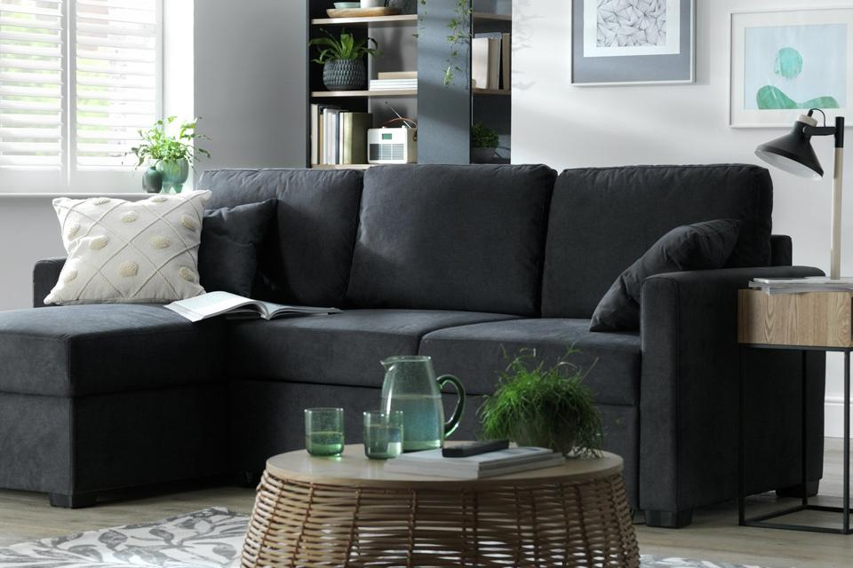 Habitat Reagan Left Corner Fabric Sofa Bed - Charcoal.
