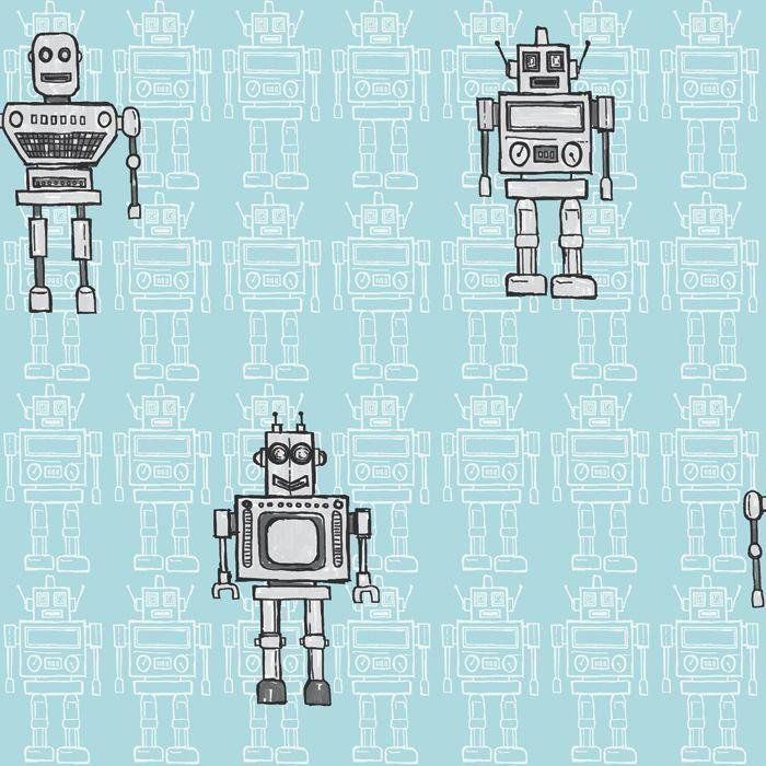 arthouse retro robot wallpaper  blue.