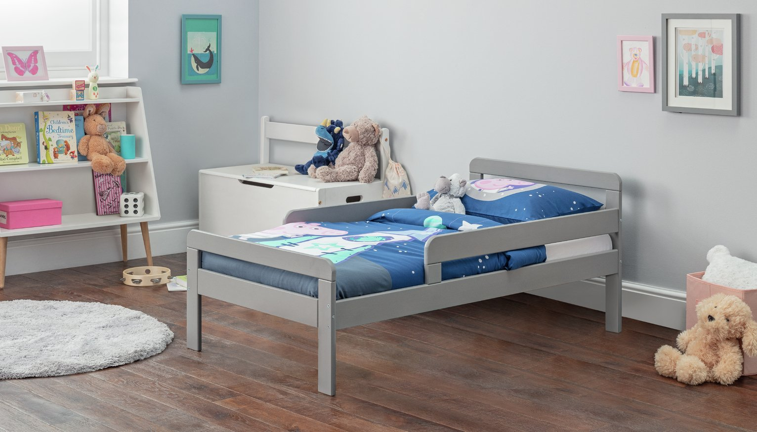 Argos Home Ellis Toddler Bed and Kids Mattress - Grey