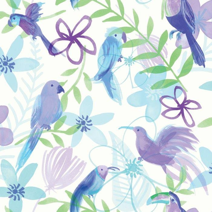 arthouse polly parrot wallpaper  purple.