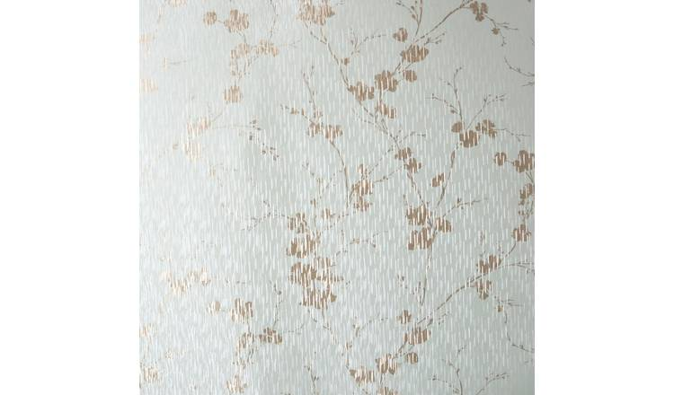 Sublime Theia Blossom Duck Egg & Gold Wallpaper