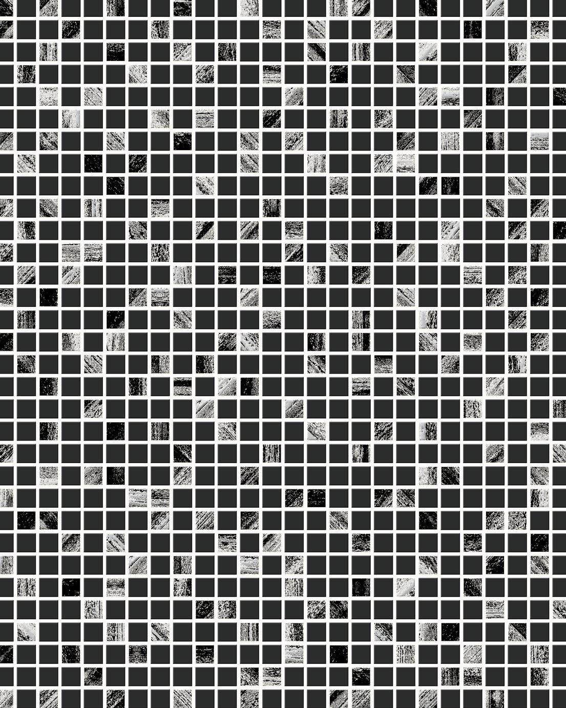 Contour Aurora Tile Black & Silver Wallpaper