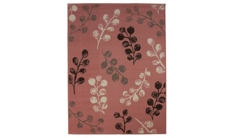 Argos Home Pod Leaf Rug - 120x160cm - Blush