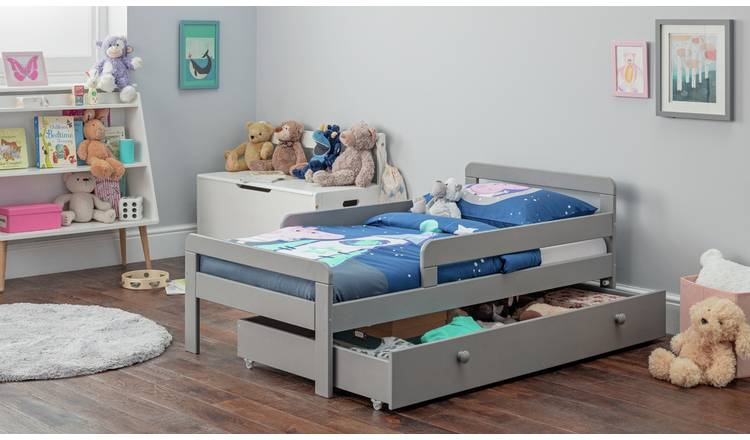 Argos Home Ellis Toddler Bed, Drawer and Kids Mattress -Grey