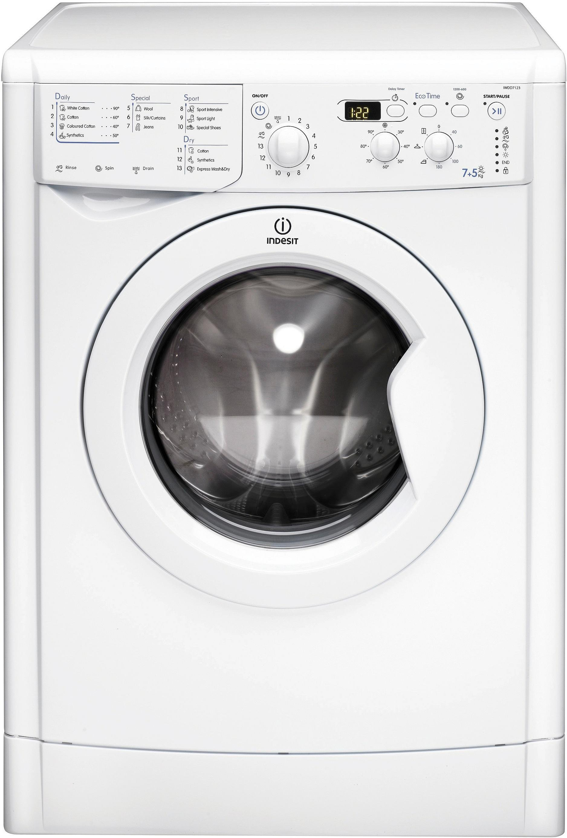 Indesit IWDD7123P 7KG / 5KG 1200 Spin Washer Dryer - White