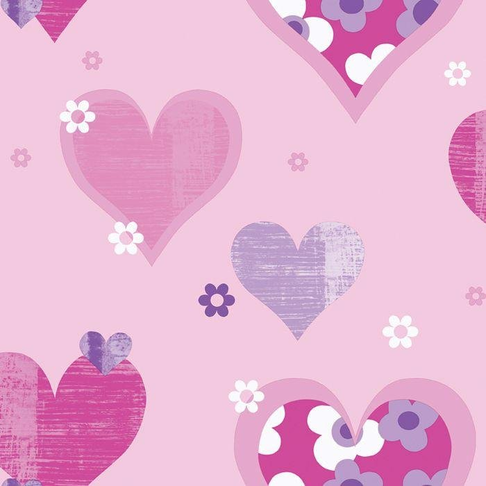 arthouse happy hearts wallpaper  pink.