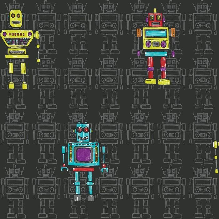 retro robot wallpaper  black.