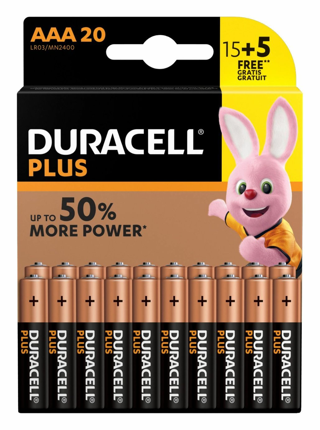 Image of Duracell Plus Power Alkaline AAA Batteries-Pack of 15+5 Free