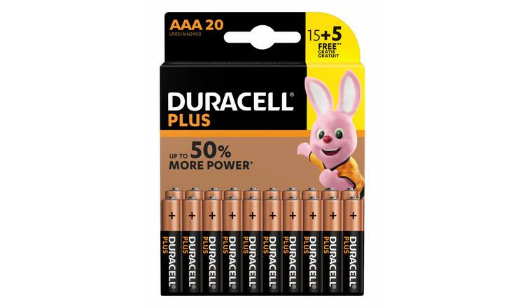 Duracell Plus Alkaline AAA Batteries-Pack of 15+5 Free