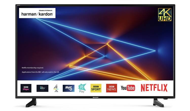 Sharp 40 Inch 4T-C40AJ2KF2FB Smart 4K HDR LCD TV