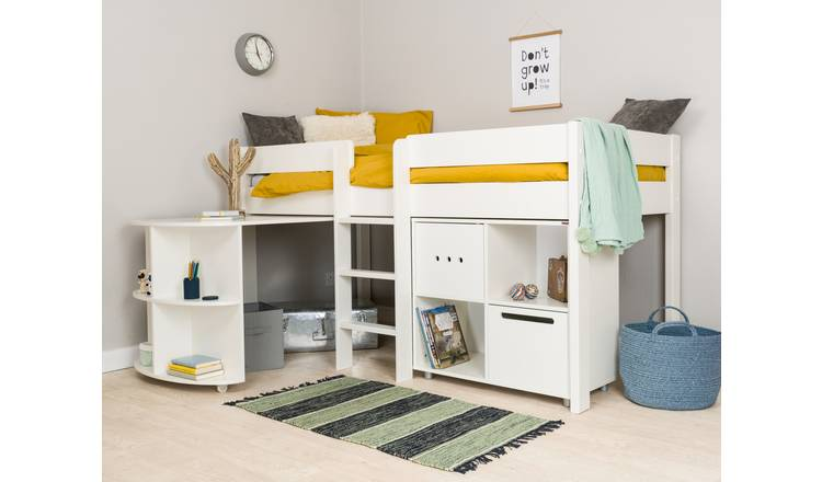 Stompa Mid Sleeper Bed, Desk, Cube Unit and Mattress - White
