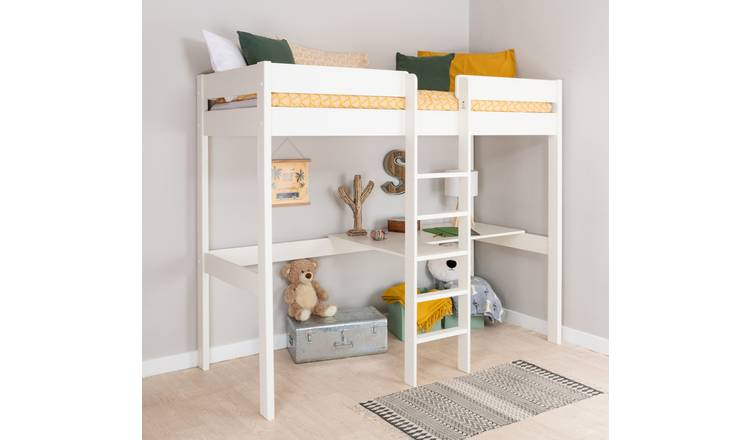Stompa High Sleeper Bed Frame and Desk - White