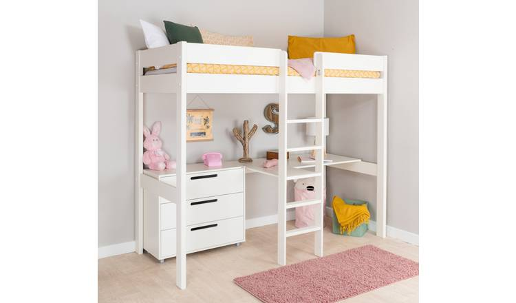 Stompa High Sleeper, Desk, Chest and Mattress - White