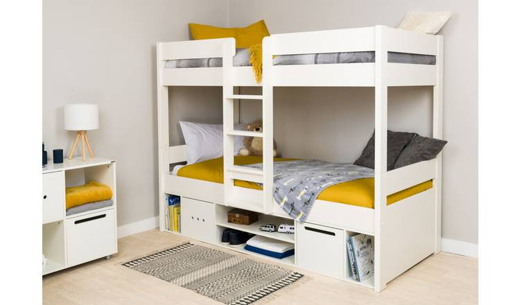 Stompa Bunk Bed with Storage and Mattress - White
