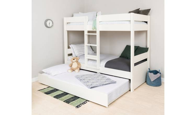Stompa Bunk Bed, Trundle and Mattress - White