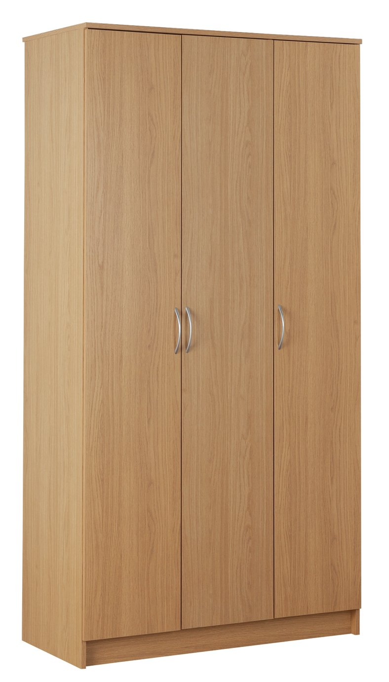 Argos Home Cheval 3 Door Wardrobe - Oak Effect