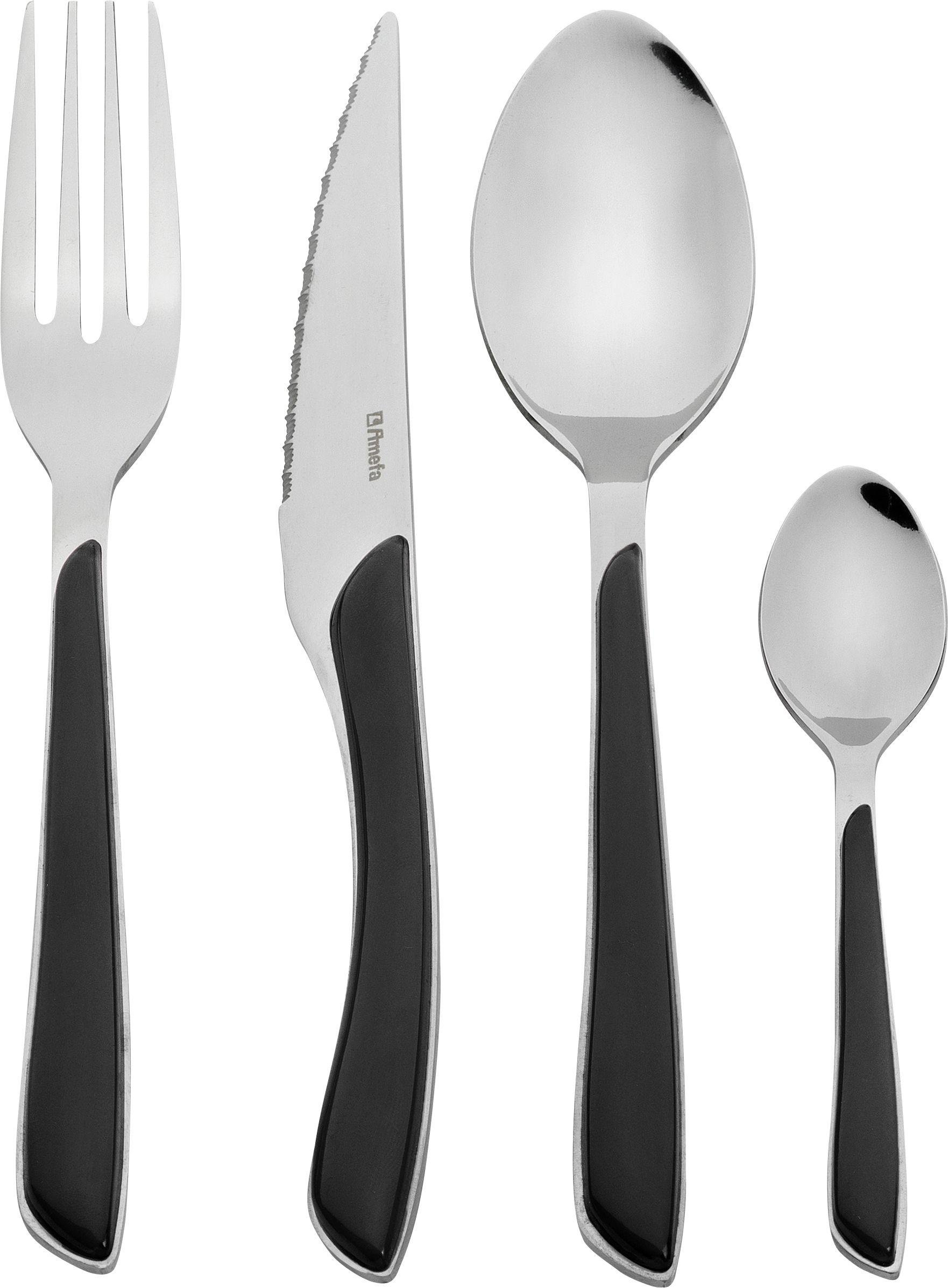 Image of Amefa Eclat 24 Piece Black Cutlery Set