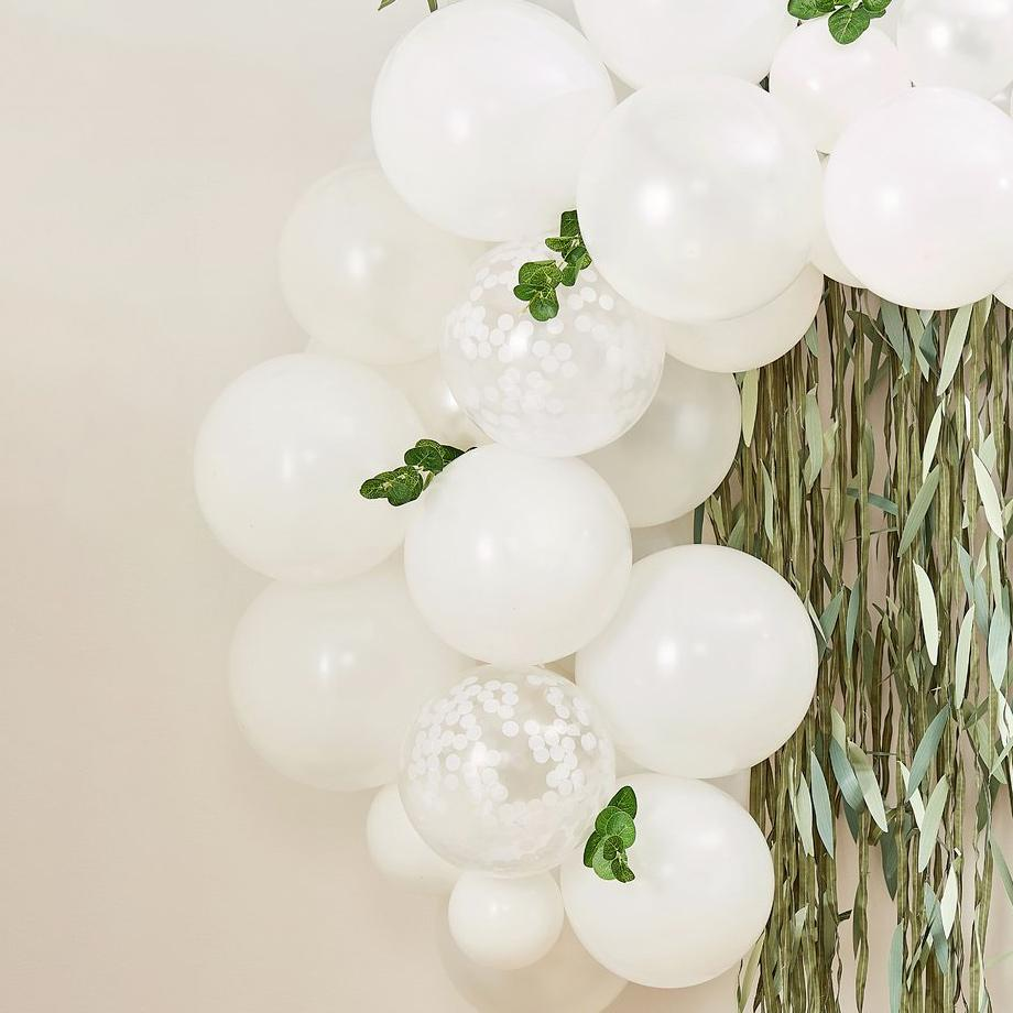 Botanical baby shower balloons.