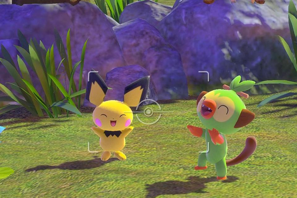 Two cute Pokémon seen through the lens of the camera.